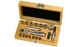 Набор головок и бит с трещоткой и держателем бит в деревянном кейсе, 18 шт Felo 057 718 66, , 6960 руб., 05771866, , Наборы бит