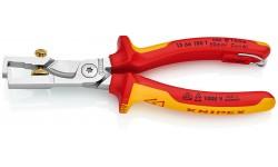 Стриппер KNIPEX 13 66 180 T, диэлектрические VDE 1000V, со страховочной петлёй, рез кабеля до ? 15 мм, зачистка до 10 мм? KN-1366180T