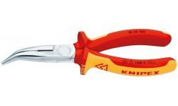 Длинногубцы изогнутые KNIPEX 25 26 160 , диэлектрические VDE 1000V, угол ?40°, 160 мм KN-2526160