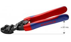 KNIPEX CoBolt® болторез компактный, с пружиной, голова 20°, L-200 мм, рез: мягкая проволока ∅ 6 мм, проволока средней твёрдости ∅ 5.2 мм, твёрдая проволока ∅ 4 мм, рояльная струна (HRC 59) ∅ 3.6 мм, чёрный, 2-компонентные рукоятки, с держателем для торгов