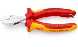 KNIPEX X-Cut® бокорезы VDE, рез: провол. мягк. ? 4.8 мм, ср. ? 3.8 мм,тв. ? 2.7 мм,роял. струна ? 2.2 мм,L-160 мм,хром,2-к ручки,страх. крепл.,блист.