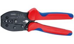 KNIPEX PreciForce® пресс-клещи, неизол., открытые штекеры (4,8 + 6,3 мм), кол-во гнёзд: 3, 0.5 - 6.0 мм? (20 -10 AWG), L-220 мм, держатель