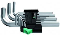 WE-021406 — Набор шестигранных ключей WERA 950/9 SM N, метрических, хромированных, 9 предметов