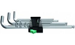 WE-022087 — Набор шестигранных ключей WERA 950 PKL/9 SM N, метрических, хромированных, 9 предметов