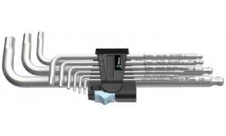 WE-022720 — Набор шестигранных ключей WERA 3950 PKL/9, метрических, нержавеющая сталь, 9 предметов