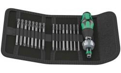 фото WE-051041 — Набор бит 89мм. в поясной сумке и реверсной ручкой-держателем WERA Kraftform Kompakt 60 RA Imperial, 17 предметов (WE-051041])