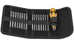 WE-051043 — Набор бит 89мм. антистатический в поясной сумке и ручкой-держателем с патроном Rapidaptor WERA Kraftform Kompakt 60 ESD, 17 деталь