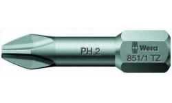 WE-056510 — Бита крестовая Phillips с зоной кручения Torsion WERA 851/1 TZ, PH 1 x 25 mm, PH 2 x 25 mm