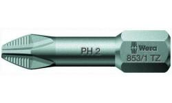 WE-056662 — Бита крестовая Phillips с противоскользящей насечкой WERA 853/1 TZ, ACR®, PH 2 x 25 mm