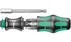 фото WE-073240 — Отвёртка WERA Kraftform Kompakt 28 SB со встроенным магазином для бит и телескопическим жалом, 7 предметов (WE-073240])