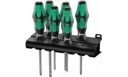 WE-105622 — Набор отвёрток WERA 335/350/355/6 шлиц, Phillips и Pozidriv с лазерной насечкой, 6 предметов