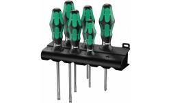 WE-105650 — Набор отвёрток WERA 334/6 Rack с лазерной насечкой, шлиц и Phillips, 6 предметов