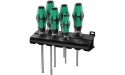 WE-105656 — Набор отвёрток WERA 334/355/6 Rack с лазерной насечкой, шлиц и Pozidriv, 6 предметов