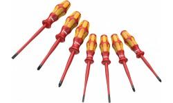 WE-135961 — Набор диэлектрических отвёрток WERA 160 iSS/7 Kraftform Plus Серия 100; с тонким жалом и утончённой ручкой, 7 предметов