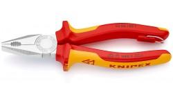Плоскогубцы KNIPEX 03 06 180 T, комбинированные, изолированные VDE 1000V, со страховочной петлёй, 180 мм KN-0306180T, KN-0306180T, 4359 руб., KN-0306180T, KNIPEX, Плоскогубцы комбинированные