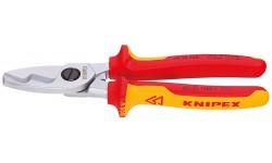Ножницы для резки кабелей, с двойными режущими кромками 95 16 200, KN-9516200, 6578 руб., KN-9516200, KNIPEX, Ножницы для резки кабеля , проволочных тросов, пластмассы и др.