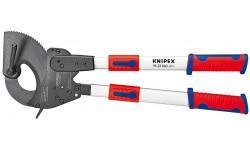 Ножницы для резки кабелей (по принципу трещотки, с выдвижными рукоятками) 95 32 060, KN-9532060, 86342 руб., KN-9532060, KNIPEX, Ножницы для резки кабеля , проволочных тросов, пластмассы и др.