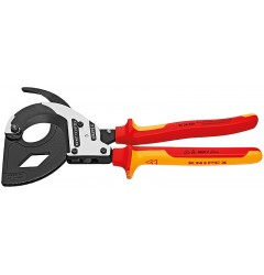 Ножницы для резки кабелей (по принципу трещоточного ключа, 3 «передачи») 95 36 320, KN-9536320, 41275 руб., KN-9536320, KNIPEX, Ножницы для резки кабеля , проволочных тросов, пластмассы и др.