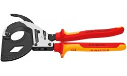 Ножницы для резки кабелей (по принципу трещоточного ключа, 3 «передачи») 95 36 320, KN-9536320, 44224 руб., KN-9536320, KNIPEX, Ножницы для резки кабеля , проволочных тросов, пластмассы и др.